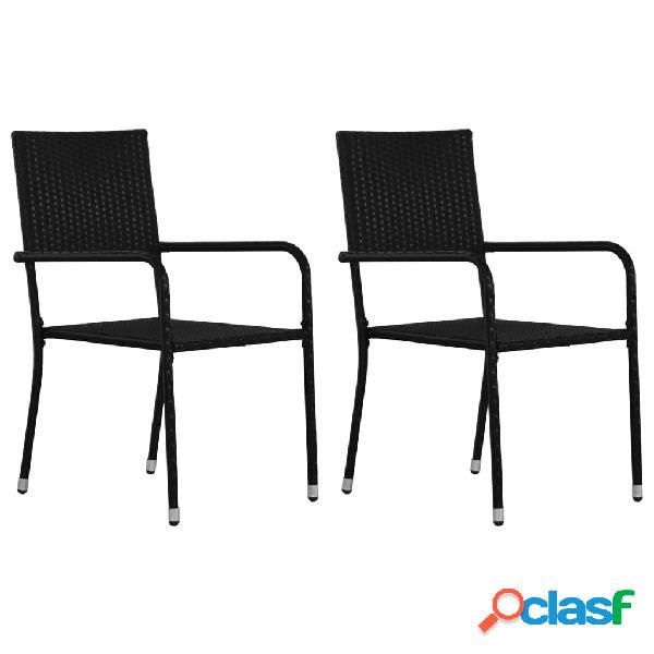 Vidaxl cadeiras de jantar de exterior 2 pcs vime pe preto