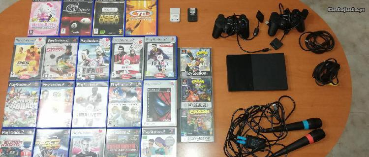 Ps2 slim + comandos + 22 jogos + microfones etc..