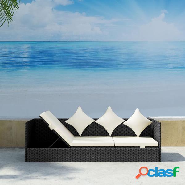 Vidaxl sofá de exterior com almofadão e almofada vime pe preto