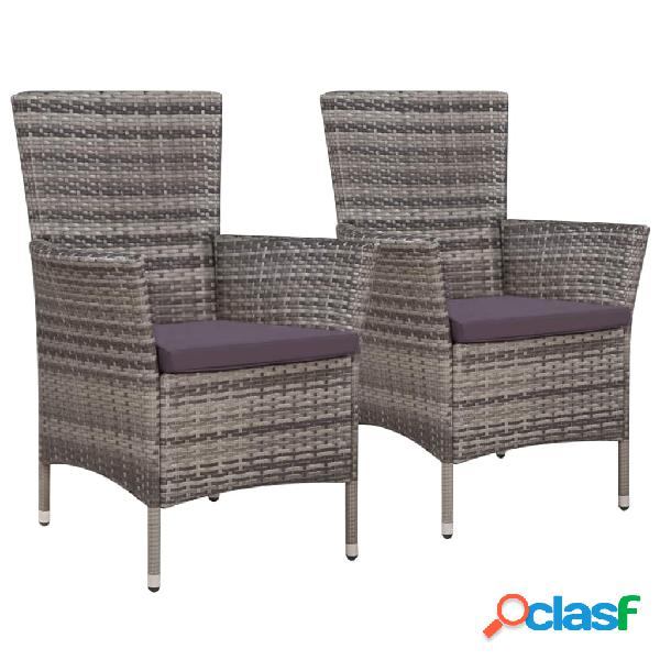 Vidaxl cadeiras de jardim 2 pcs c/ almofadões vime pe cinzento