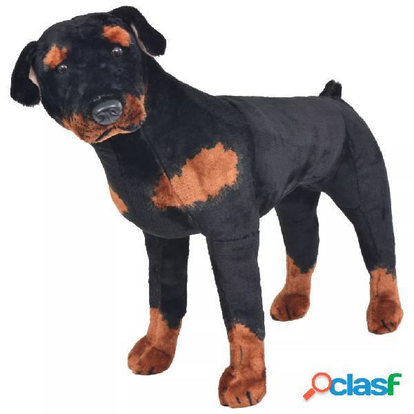 Vidaxl brinquedo de montar cão rottweiler peluche preto e castanho xxl