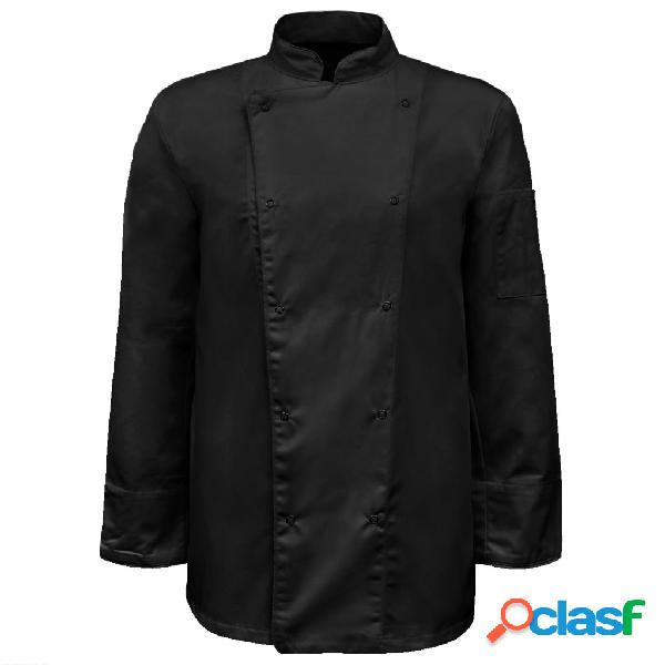 Vidaxl jaqueta/jaleca de chef 2 pcs manga comprida tamanho xl preto
