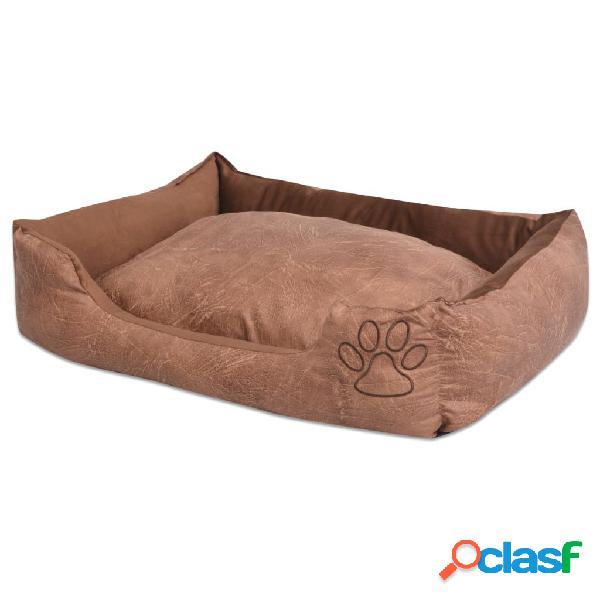 Vidaxl cama para cães com almofada couro artificial pu tamanho s bege
