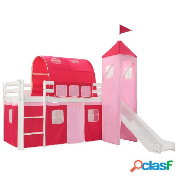 Vidaxl estrutura de cama infantil c/ escorrega e escada pinho 97x208cm