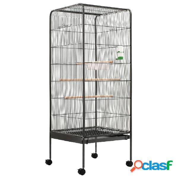 Vidaxl gaiola para pássaros 54x54x146 cm aço cinzento