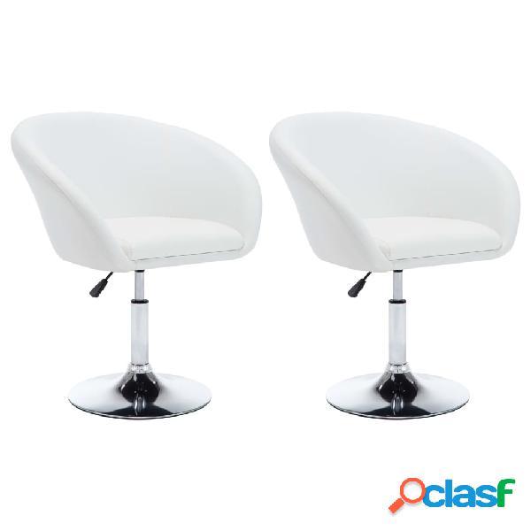 Vidaxl cadeiras jantar girat. 2 pcs couro artif. 67,5x58,5x87cm branco