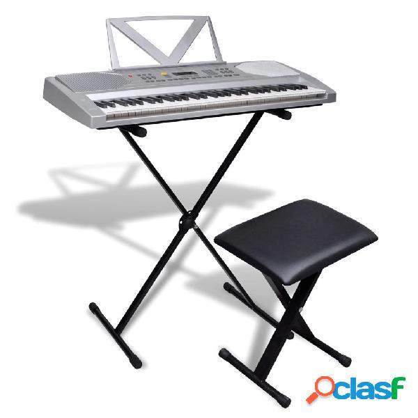 Vidaxl conjunto de teclado eléctrico de 61 teclas + suporte ajustável + banco
