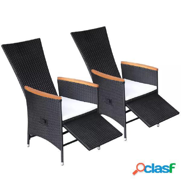 Vidaxl cadeiras de jardim reclináveis 2pcs c/ almofadões vime pe preto