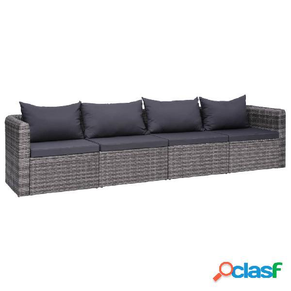 Vidaxl 4 pcs conjunto sofás de jardim c/ almofadões vime pe cinzento