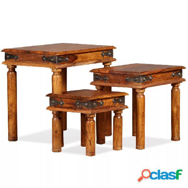 Vidaxl conjunto mesas encastrar 3 pcs madeira sheesham maciça castanho