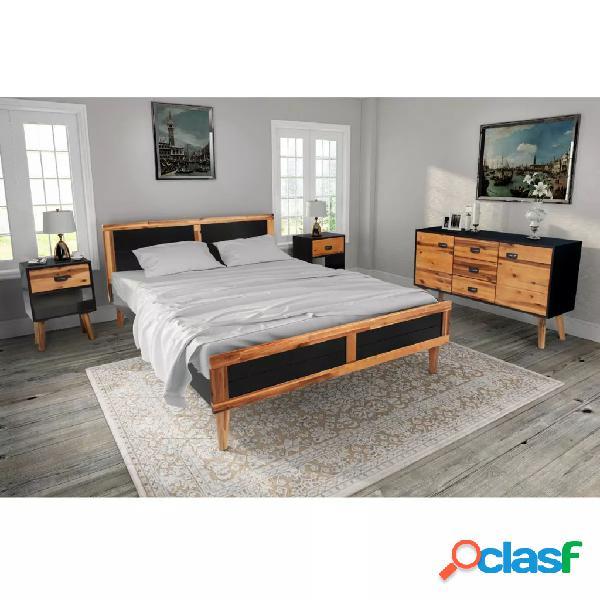 Vidaxl conj. móveis de quarto 4 pcs madeira acácia maciça 140x200 cm