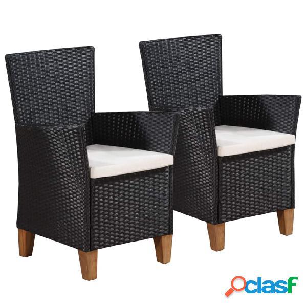 Vidaxl cadeiras de exterior com almofadões 2 pcs vime pe preto