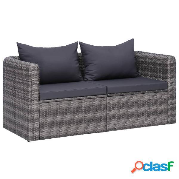 Vidaxl sofás de canto para jardim 2 pcs vime pe cinzento