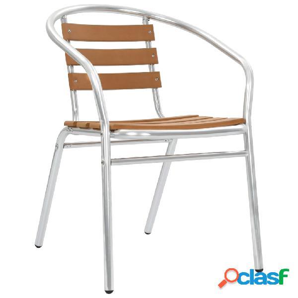 Vidaxl cadeiras de jardim empilháveis 2 pcs alumínio e wpc prateado