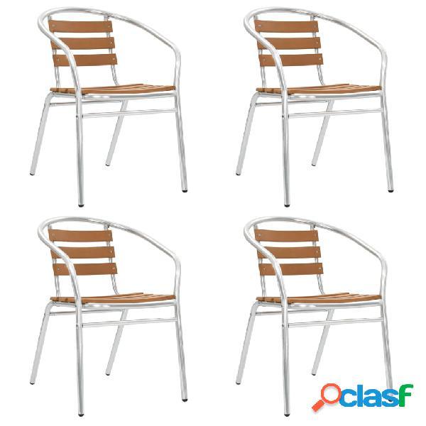 Vidaxl cadeiras de jardim empilháveis 4 pcs alumínio e wpc prateado