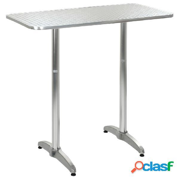 Vidaxl mesa de jardim 120x60x(70-110) cm alumínio prateado