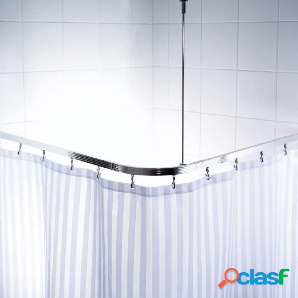 RIDDER Calha de canto universal p/ cortina de duche c/ ganchos cromado