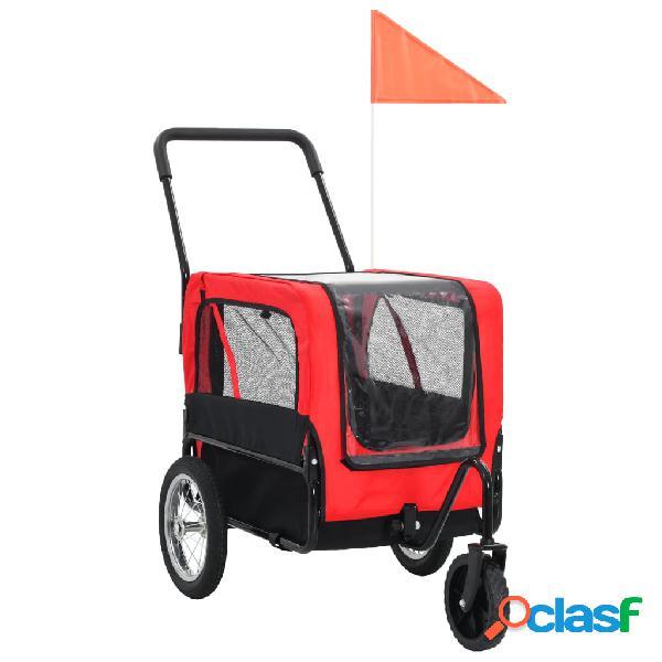 vidaXL Reboque bicicletas/carrinho para animais 2-em-1 vermelho/preto