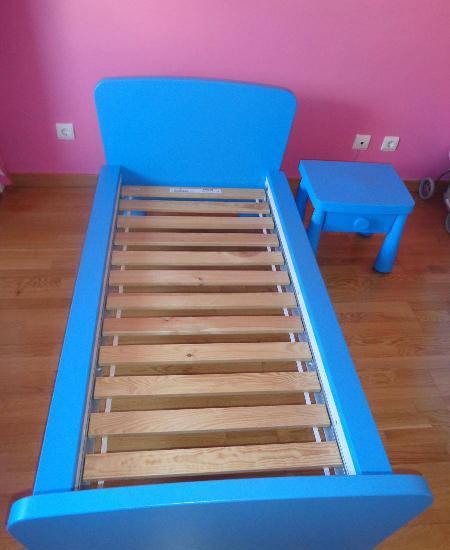 Cama de criança ikea azul com estrado 170x90cm.