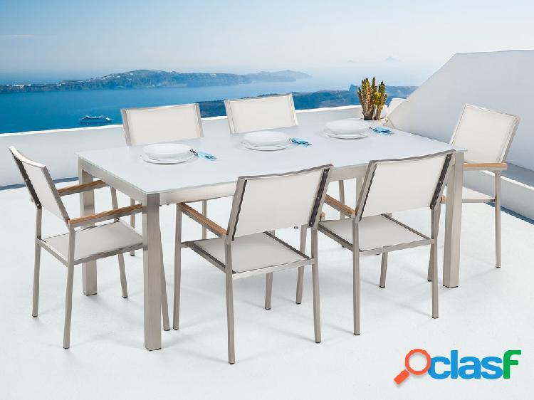Conjunto de jardim - vidro temperado branco - mesa 180 cm com 6 cadeiras em vime sintético - grosseto