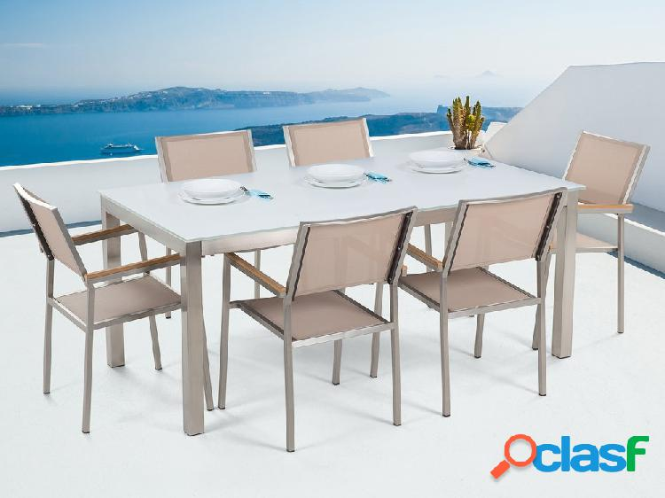 Conjunto de jardim - vidro temperado branco - mesa de 180 cm com 6 cadeiras bege - grosseto