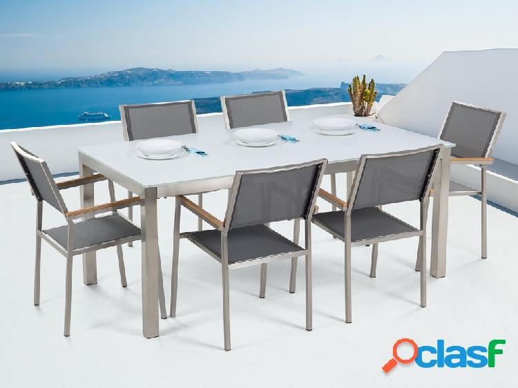 Conjunto de jardim - vidro temperado branco - mesa de 180 cm com 6 cadeiras cinza - grosseto
