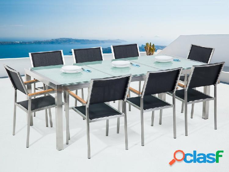 Conjunto de jardim - vidro temperado - mesa 220 cm com 8 cadeiras bege - grosseto