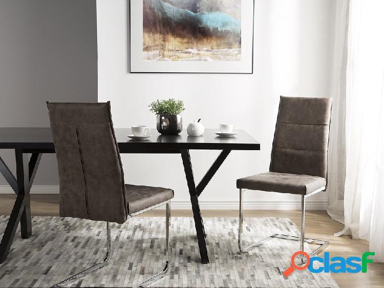 Cojunto de duas cadeiras de jantar em marrom escuro - rockford