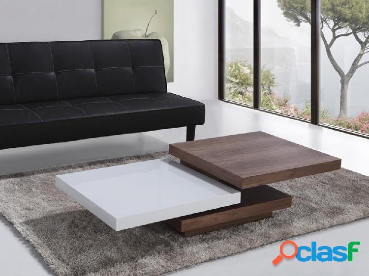 Mesa de centro branco & castanho-noz - placas giratórias - mesa de café - aveiro