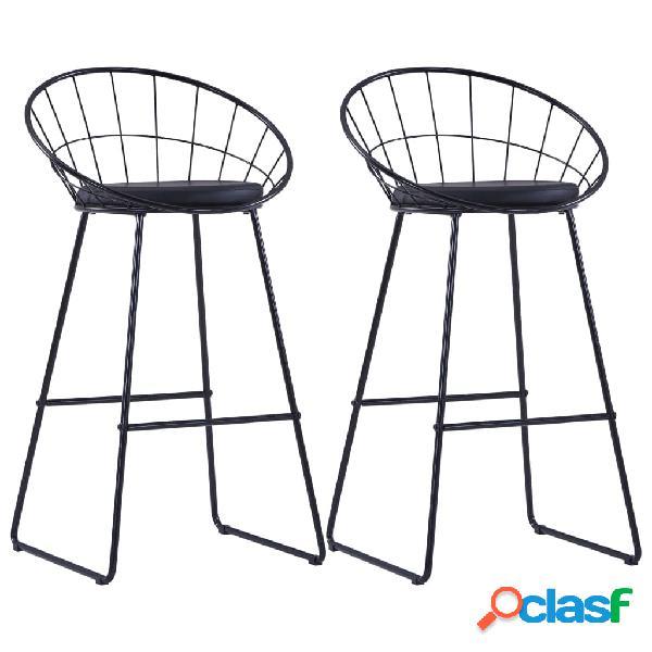 Vidaxl cadeiras de bar 2 pcs couro artificial preto