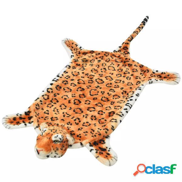 vidaXL Tapete leopardo de pelúcia, 139 cm, castanho
