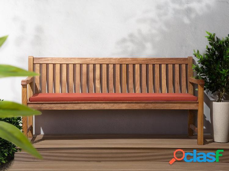 Banco de jardim em madeira - Almofada vermelho terracota - 180 cm - JAVA