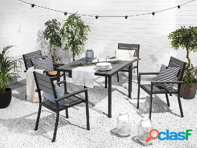 Conjunto de 4 cadeiras de jardim em cinza escuro PRATO