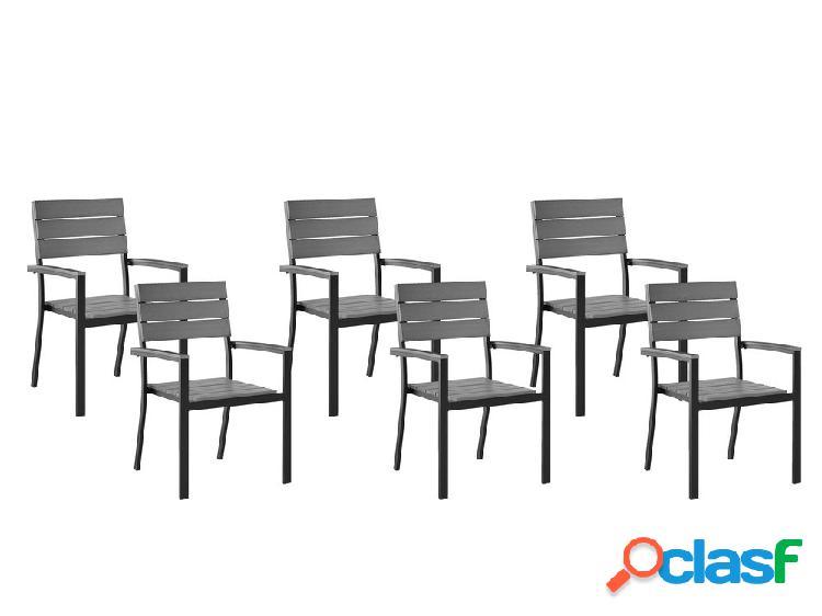 Conjunto de 6 cadeiras de jardim em alumínio cinza COMO