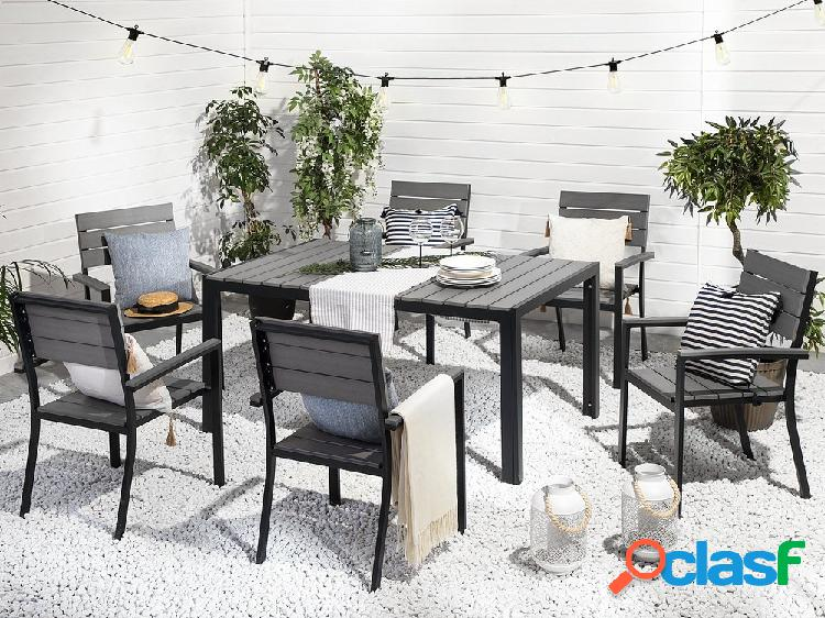 Conjunto de jardim em alumínio cinza - Mesa 150 cm + 6 cadeiras - COMO