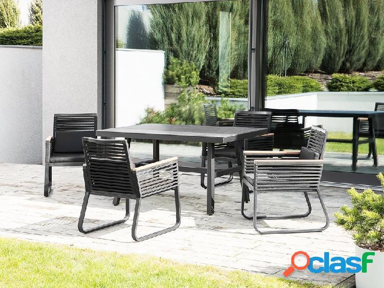 Conjunto de jardim preto com 4 cadeiras CANET