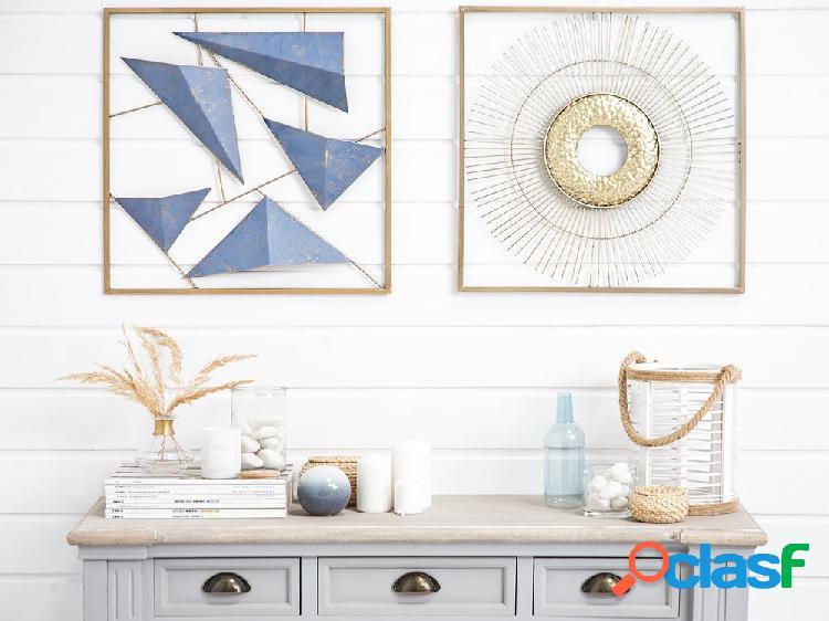 Decoração de parede azul e dourada ZINC
