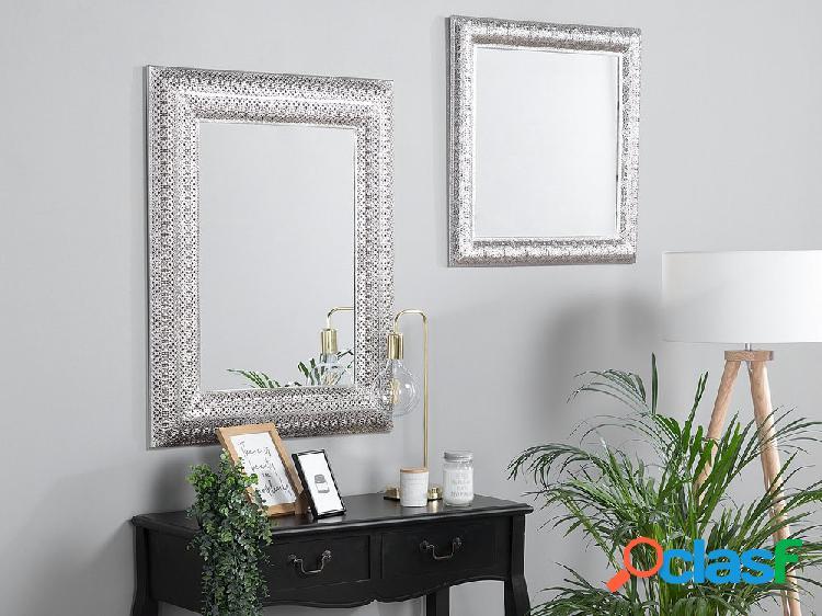 Espelho de parede prateado 65 x 65 cm CAVAN