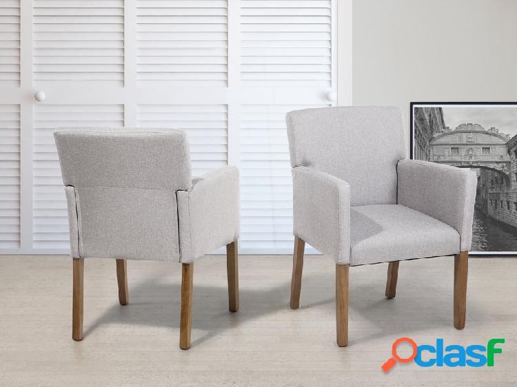 Conjunto de 2 cadeiras de jantar cinza claro ROCKEFELLER