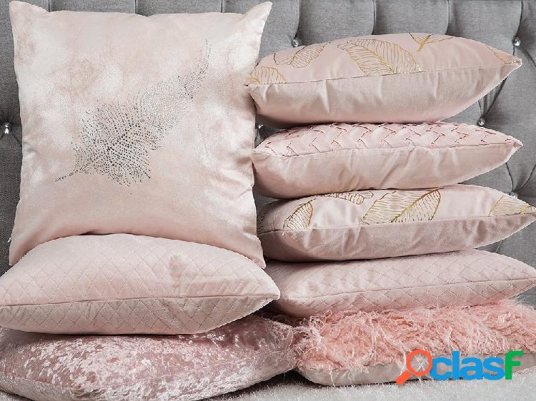 Almofada decorativa entrelaçada - rosa 45x45 cm