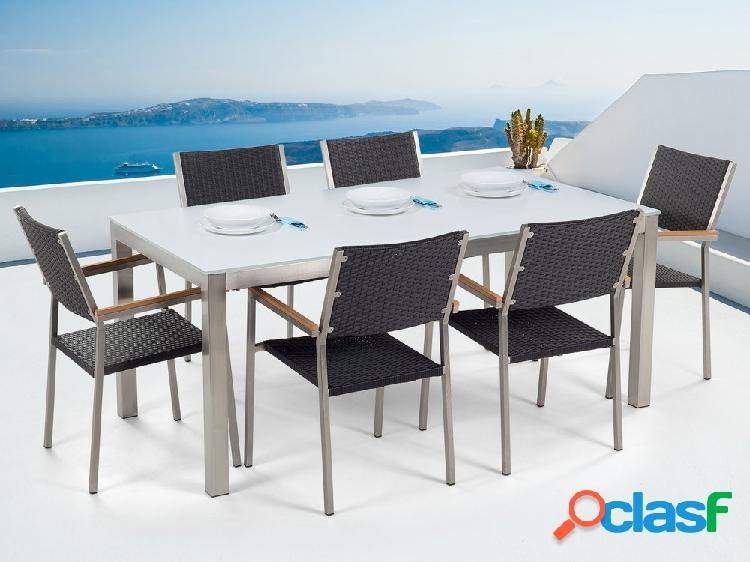 Conjunto de jardim - Vidro temperado branco - Mesa 180 cm com 6 cadeiras pretas - GROSSETO