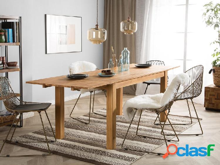 Mesa de jantar marrom claro - 150/240 x 85 cm - Madeira de carvalho - Extensível - MAXIMA