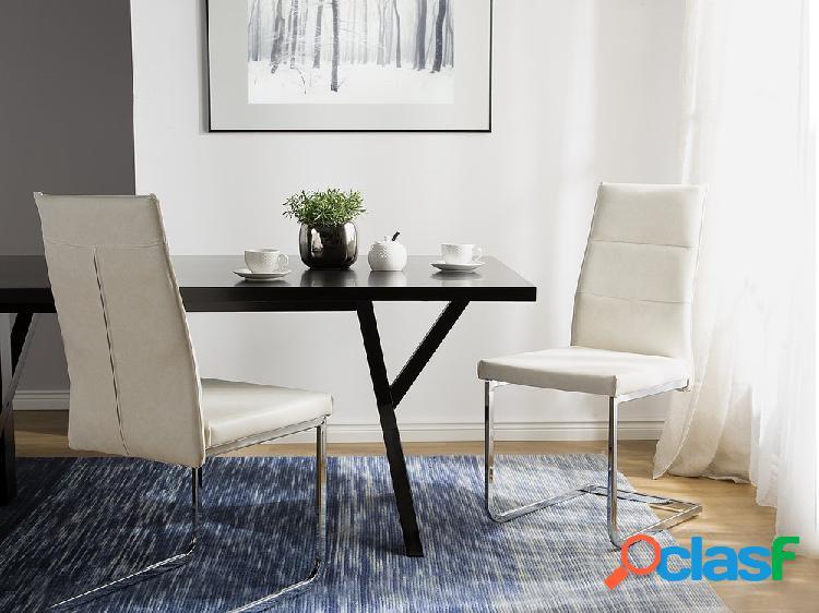 Cojunto de duas cadeiras de jantar em branco creme - ROCKFORD