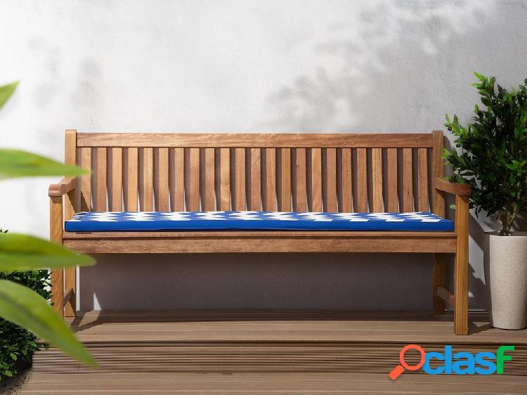 Confortável almofada azul e branca zig zag, para banco de jardim TOSCANA/JAVA 169x50x5 cm