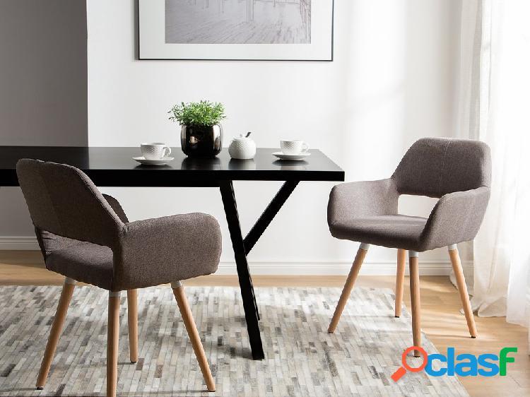Conjunto de 2 cadeiras de jantar marrom taupe - Cadeira de refeição - Estofada - CHICAGO