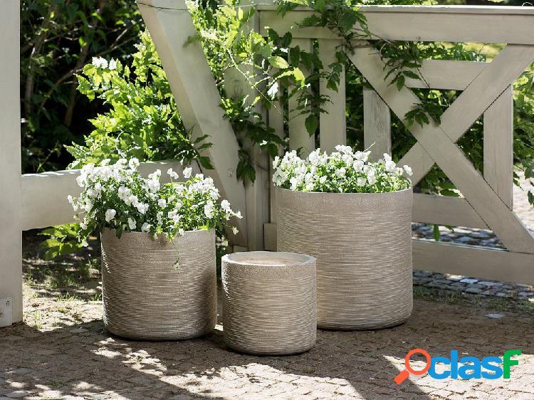 Conjunto de vasos de plantas bege - 3 peças - SAMOS
