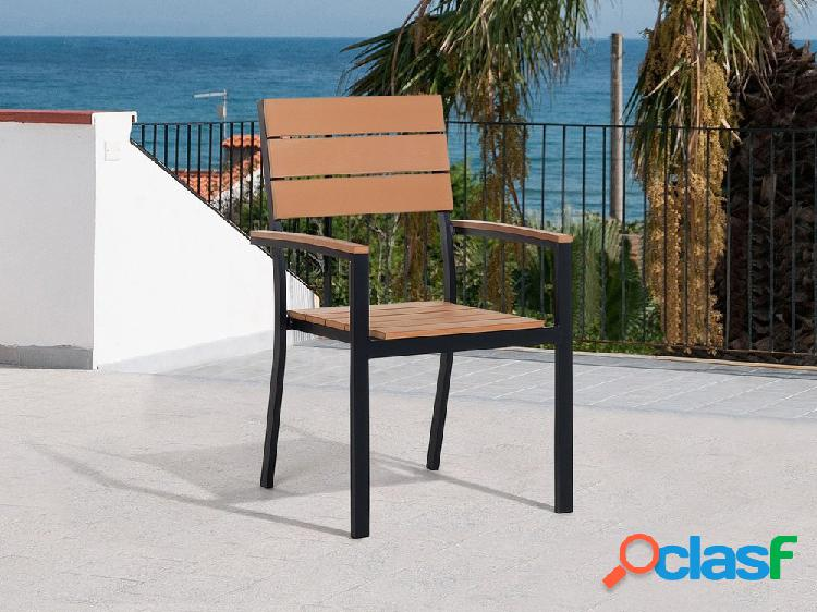 Cadeira de jardim em madeira e alumínio marrom COMO