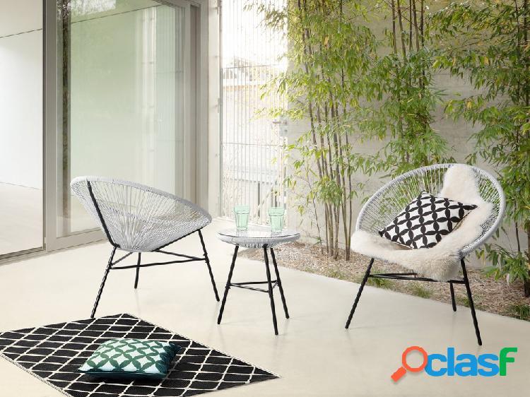 Conjunto de balcão - mesa de chá e duas cadeiras - branco - acapulco