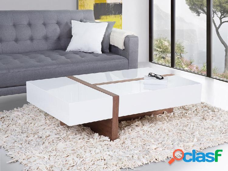 Mesa de centro branca e marrom - Revestimento de madeira de nogueira - MIRANDELA