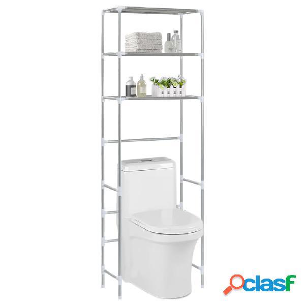 Vidaxl estante de 3 prateleiras p/ casa de banho 53x28x169 cm prateado